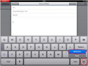 iPad Tastatur verschieben